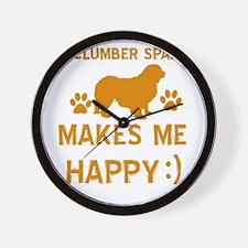 My Clumber Spaniel Makes Me Happy Wall Clock