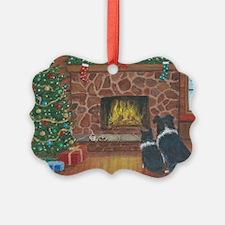 Santa Watch Border Collies Ornament