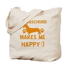 My Daschund Makes Me Happy Tote Bag