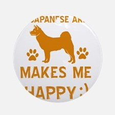 My Japanese Akita Makes Me Happy Round Ornament
