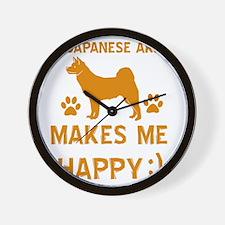 My Japanese Akita Makes Me Happy Wall Clock