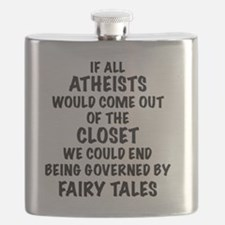 Atheist out of Closet, t shirt Flask