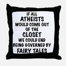 Atheist out of Closet, t shirt Throw Pillow