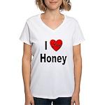 I Love Honey (Front) Women's V-Neck T-Shirt