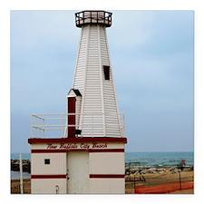 "Beach Lighthouse Square Car Magnet 3"" x 3"""