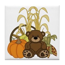 Autumn design with Pumkins and Teddy  Tile Coaster