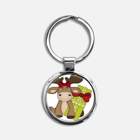 Mery Chrismoose Round Keychain