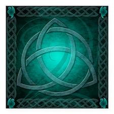 "Teal Celtic Dragon Square Car Magnet 3"" x 3"""