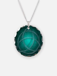 Teal Celtic Dragon Necklace