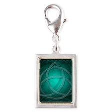 Teal Celtic Dragon Silver Portrait Charm