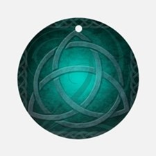Teal Celtic Dragon Round Ornament