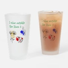 I Color Outside the Lines Drinking Glass