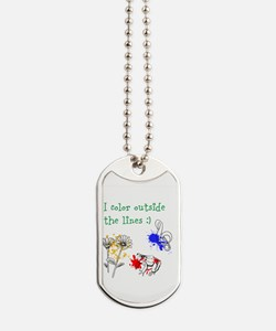 I Color Outside the Lines Dog Tags