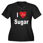 I Love Sugar (Front) Women's Plus Size V-Neck Dark