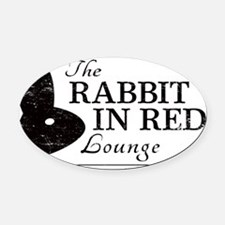 Rabbit in Red Lounge Oval Car Magnet