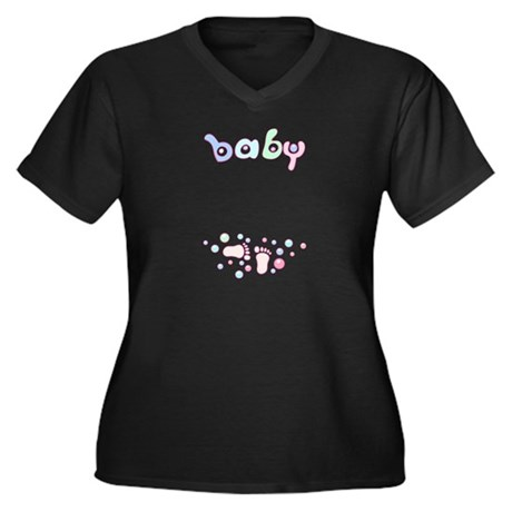 Baby Feet Women's Plus Size V-Neck Dark T-Shirt