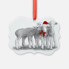 Christmas Hat Lambs Ornament