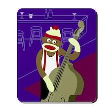 Sock Monkey Upright Bass Player Mousepad