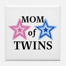 Mom of Twins (Girl, Boy) Tile Coaster