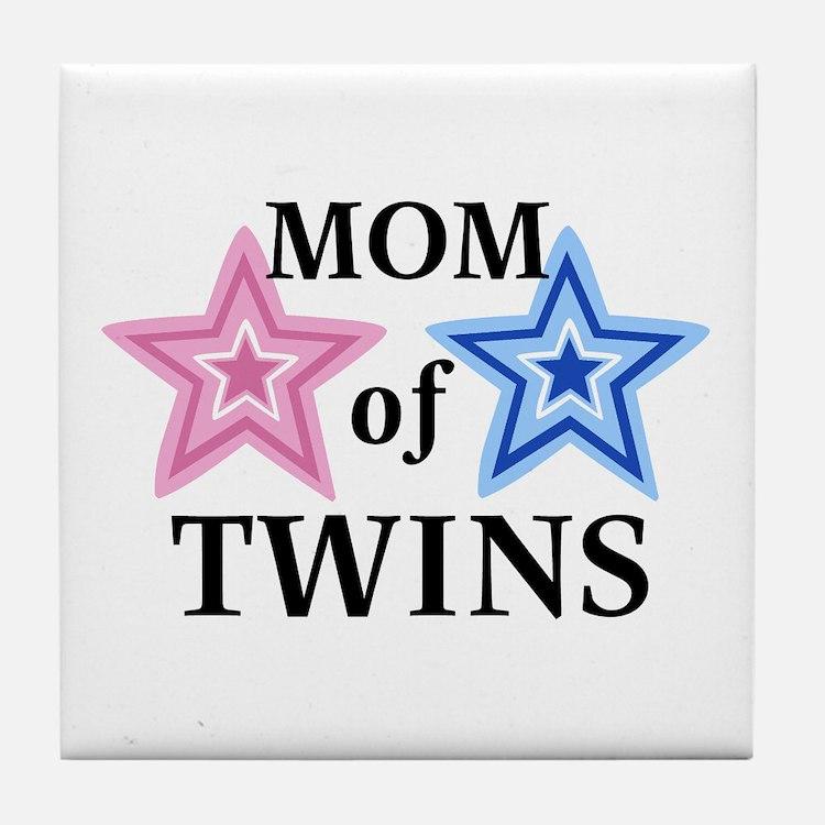Mom of Twins (Girl, Boy) Tile Coaster