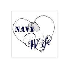 "Navy Wife for dark backgrou Square Sticker 3"" x 3"""