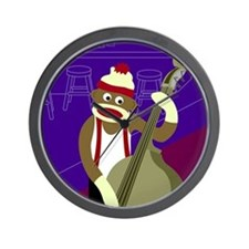 Sock Monkey Upright Bass Player Wall Clock