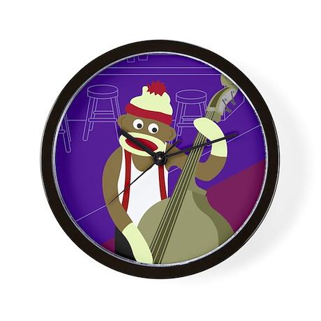 Sock Monkey Upright Bass Player Wall Clock