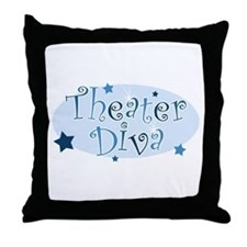 """Theater Diva"" [blue] Throw Pillow"