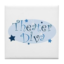 """Theater Diva"" [blue] Tile Coaster"