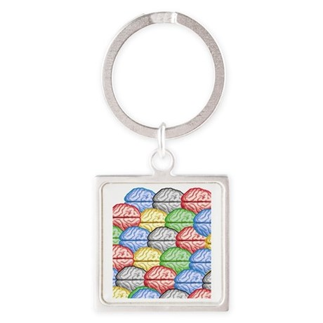 Colorful Brains Square Keychain