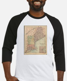 Vintage Map of New England (1880) Baseball Jersey
