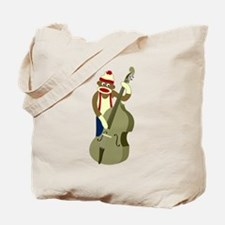 Sock Monkey Upright Bass Player Tote Bag
