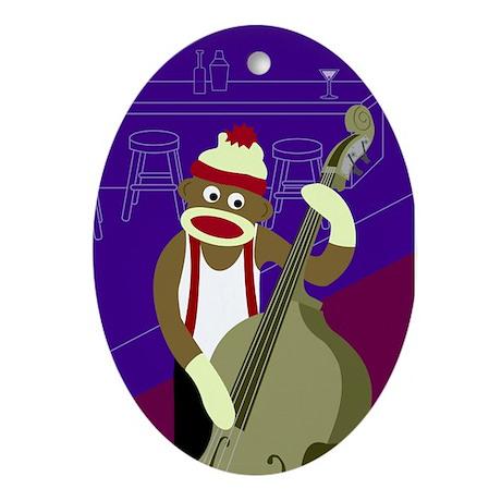 Sock Monkey Upright Bass Player Ornament