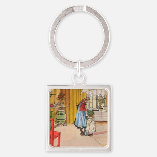 Churning Butter (square) Square Keychain