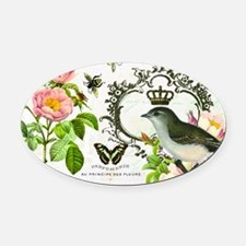 Vintage French shabby chic bird wi Oval Car Magnet