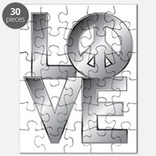 Metallic LOVE with Peace Symbol Puzzle