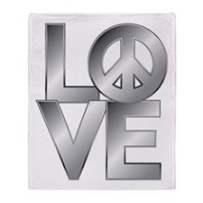 Metallic LOVE with Peace Symbol Throw Blanket
