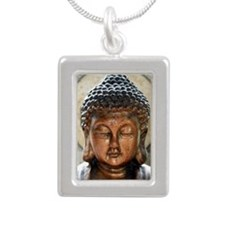 Buddha Blessing Silver Portrait Necklace