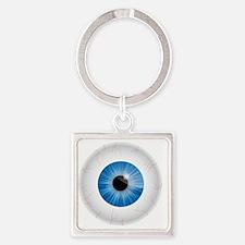 Bloodshot Blue Eyeball Square Keychain
