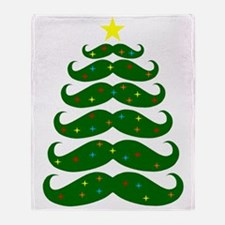 Mustache Christmas Tree Throw Blanket