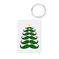 Mustache Christmas Tree Keychains