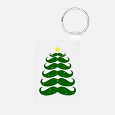 Mustache Christmas Tree Keychains
