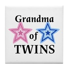 Grandma of Twins (Girl, Boy) Tile Coaster