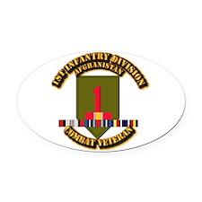 Army - 1st ID w Afghan Svc Oval Car Magnet