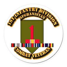 Army - 1st ID w Afghan Svc Round Car Magnet