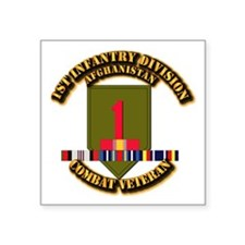 "Army - 1st ID w Afghan Svc Square Sticker 3"" x 3"""