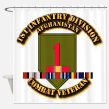 Army - 1st ID w Afghan Svc Shower Curtain