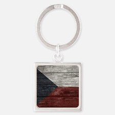 Wood Boards Czech Republic Flag ki Square Keychain