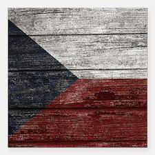 "Wood Boards Czech Republ Square Car Magnet 3"" x 3"""