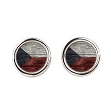Wood Boards Czech Republic Flag king duv Cufflinks
